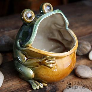 包邮高温彩色陶瓷青蛙大嘴蛙置物桶瓷器装饰品收纳桶居家摆件