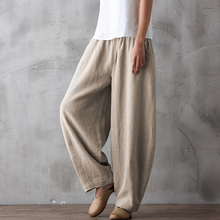 New style retro loose casual pants, women's cotton flax spring and autumn conventional black tight high waist lantern trousers to fatten up