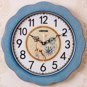简约现代创意挂钟蓝色圆形客厅装饰挂表卧室静音石英钟个性艺术壁