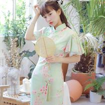 依依家的桃花落 几分淡雅意 雪纺印花飞袖中式改良旗袍连衣裙夏