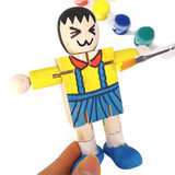 Zhile Baichang Wood Robot White Billet Wood DIY Wood Man Puppet Children Painting and Painting Graffiti Toys