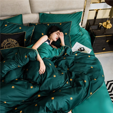 European light luxury bed four sets of high-end air pure cotton luxury bed products cotton high-end quilt sheets home textiles