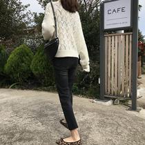 IN SEOUL 直筒牛仔裤女2018新款秋冬高腰修身显瘦韩版加绒休闲裤