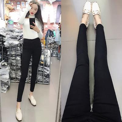 【现】黑色高腰排扣牛仔裤女九分韩版复古修身显瘦百搭小脚铅笔裤