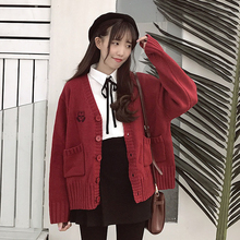 Autumn 2018 new Cardigan Jacket Women retro Hong Kong V-neck loose Korean version of chic student knitted sweater