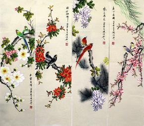 精品工笔写意花鸟四条屏手绘真迹字画客厅卧室国画书画作品条幅