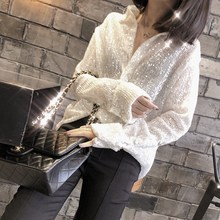 2018 autumn and winter new heavy metal shooting star sequins blingbling single-breasted lapel long-sleeved white shirt women's shirt