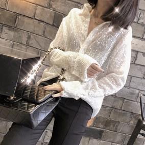 2018秋冬新品重工流星亮片blingbling单排扣翻领长袖白衬衫女上衣