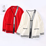 Pregnant women coat women's sweater striped sweater shirt autumn and winter 2018 new pregnancy loose knit cardigan coat