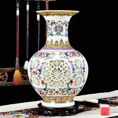 景德镇陶瓷花瓶双层镂空客厅家居装饰现代工艺品器仿古中欧式摆件