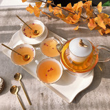 British afternoon tea set fruit teapot set flower teapot teacup candle heating glass ceramic boiled fruit pot