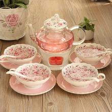 英式下午茶花茶茶具套装陶瓷玻璃泡花茶壶花茶杯煮水果茶壶加热