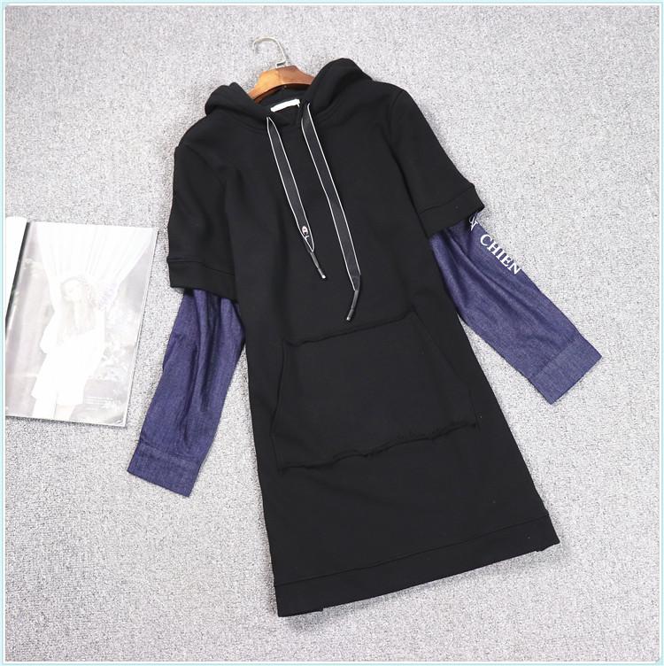 B1系列◆衣佳人折扣女装剪标 时尚连帽假2件套牛仔袖拼接长款卫衣
