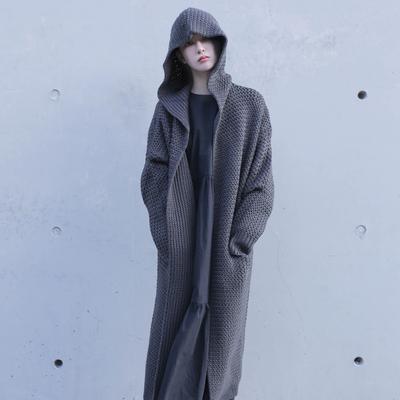 自制欧美连帽加厚毛衣针织外套宽松风中长款女装复古开衫秋冬新