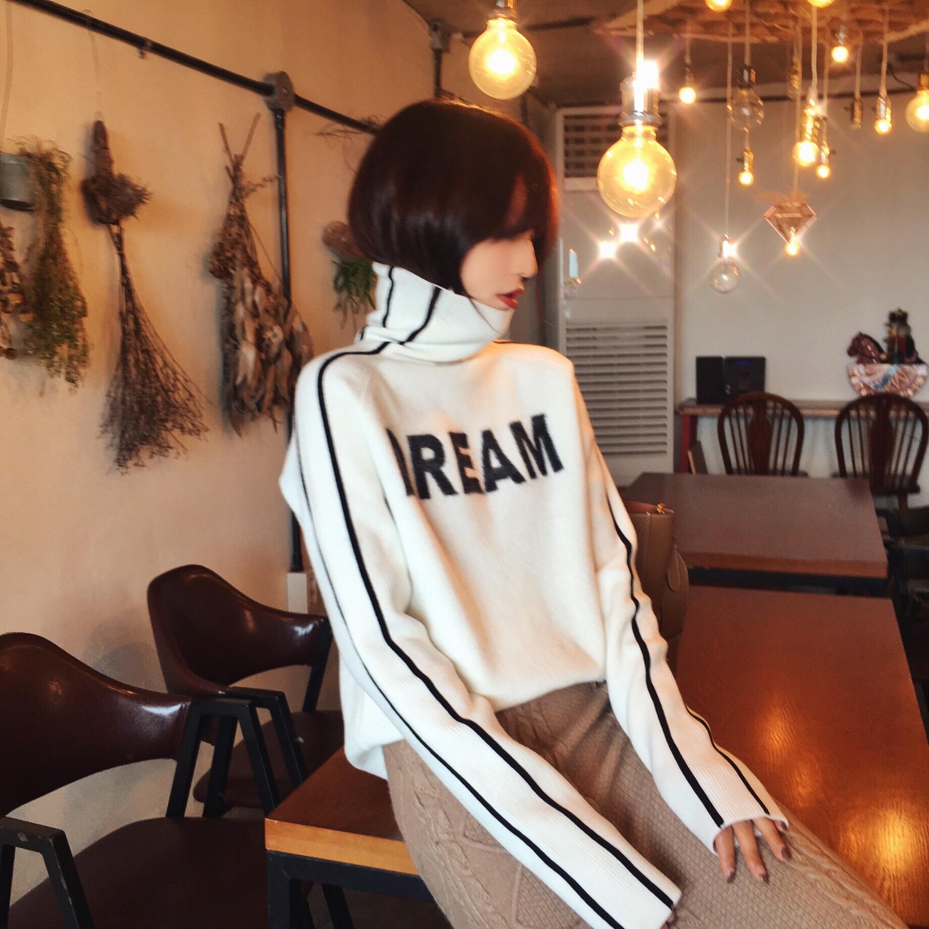 2017冬季新款韩版白色加厚短款套头高领毛衣女装内搭针织打底衫满50元减10元