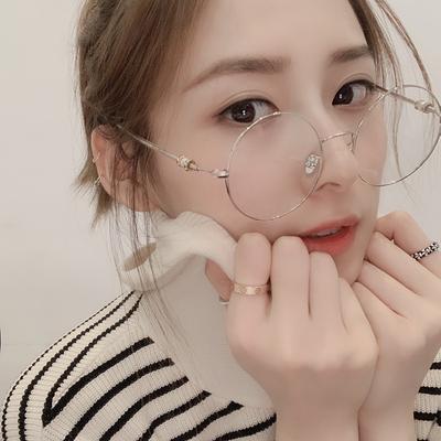 圆形平光眼镜防蓝光近视架网红同款复古女显瘦时尚舒适个性修脸框