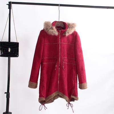 重量款 韩国单复古感仿鹿皮加绒真貉子毛领连帽大衣外套女