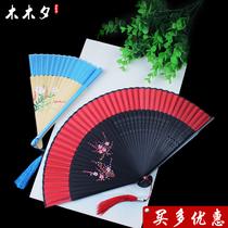 寸女扇木质咏春烤漆折扇西班牙舞蹈扇子跳舞木扇大红色7新款精品