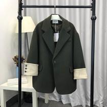 毛呢大衣女2018冬新款 英伦风撞色短款韩版宽松大码羊毛西装外套