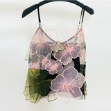 Spring and summer temperament contrast color three-dimensional flower fairy hook flower V-neck halter shirt mesh embroidery bottoming sleeveless vest female