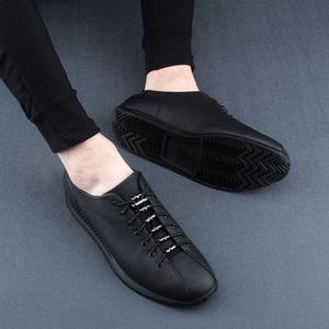 欧洲站2018新款真皮套脚头层牛皮板鞋运动休闲鞋低帮韩版男鞋潮鞋