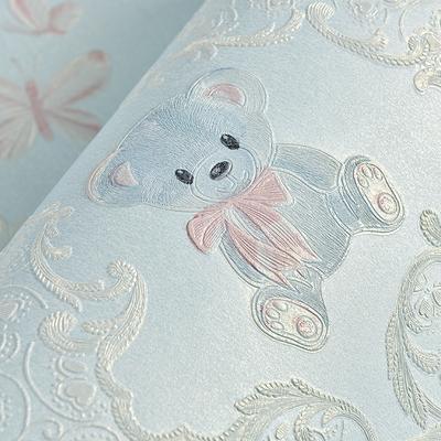 4D浮雕加厚无纺布墙纸卡通小熊男孩女孩卧室儿童房温馨背景墙壁纸