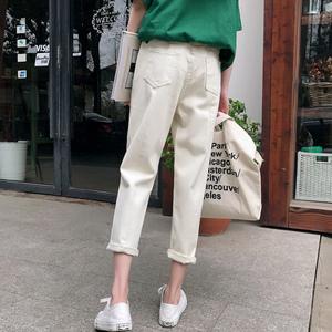 图片:白色牛仔裤女宽松学生bf百搭显瘦高腰纯色大码哈伦牛仔九分裤夏季