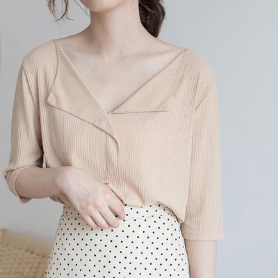复古韩版气质宽松纯色细条纹v领翻领短袖T恤上衣薄2018新款夏装女