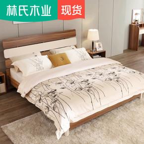 林氏木业简约现代板式床1.8m经济型双人床高箱储物卧室家具CP4A-B