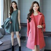 新款 POLO领毛呢外套潮 品质甜美气质背心裙两件套装 冬装 2017年女装