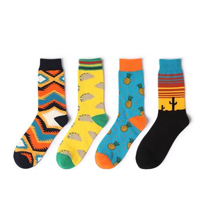 长袜潮流街头欧美花袜子民族风个性韩版长筒袜学院风秋冬中筒袜子