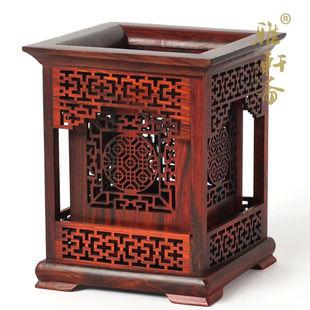 老挝大红酸枝笔筒 毛笔笔筒实木 绿檀复古 檀木质 红木雕工艺品