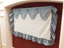 Mediterranean style milk white lattice wave head TV dust cover shop other fabrics can be customized