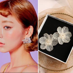 韩国韩版纯美手工重工编织透明花瓣冰灵大花朵耳环无耳洞耳夹耳饰