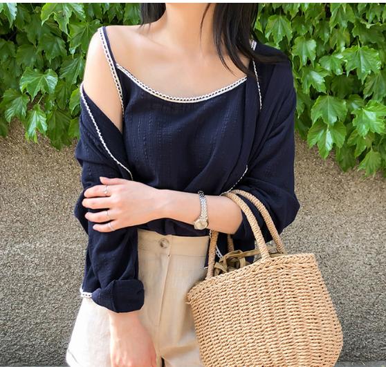 5韩国代购正品 夏cherrykoko官网特 深蓝色舒适吊带开衫套装百搭