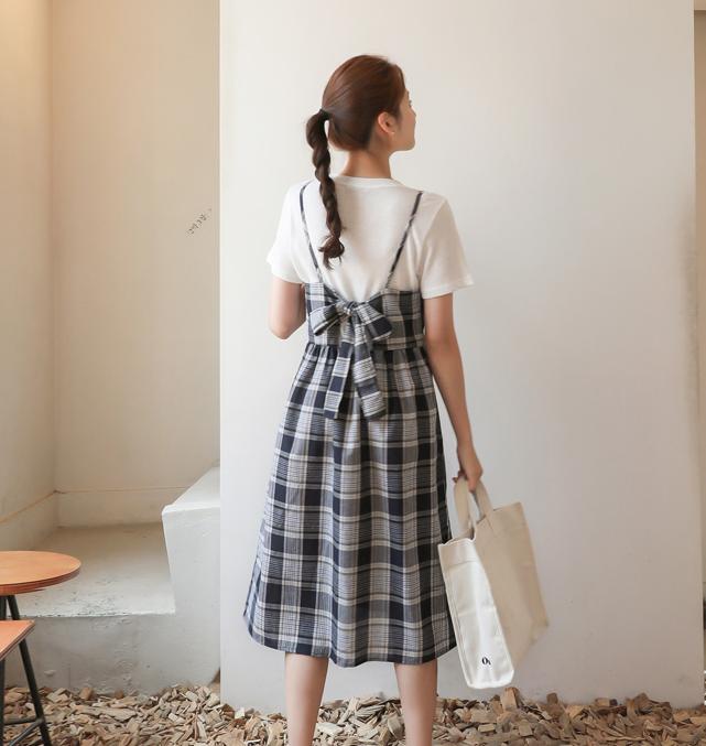5韩国代购正品cherrykoko夏 官网特 吊带格纹连衣长裙吊带裙 淑女