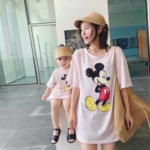 辰辰妈 迪士尼米奇亲子装条纹套装夏季新款女童短袖短裤妈妈t恤裙