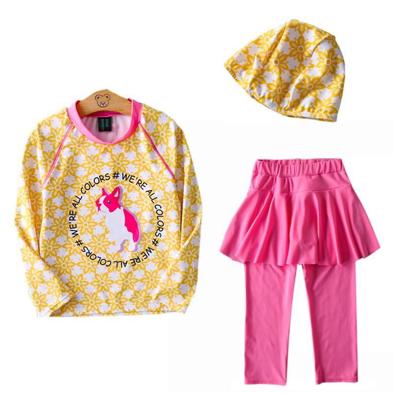 女童泳衣新款中大童裙式长袖泳装儿童分体游泳衣学生女孩三件套装