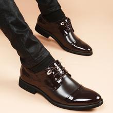 男韩版 青年增高6cm真皮男鞋 休闲皮鞋 冬季英伦尖头棕色商务正装