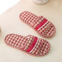 Plaid cotton fabric slippers home indoor beef tendon bottom non-slip sweat home four seasons slippers beauty salon slippers
