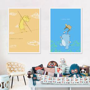木加木艺术现代卡通动漫画儿童房装饰画可爱小孩房间卧室床头挂画