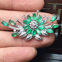 Natural emerald brooch pendant dual-use elegant and steady natural draping beauty 2.5 by 5