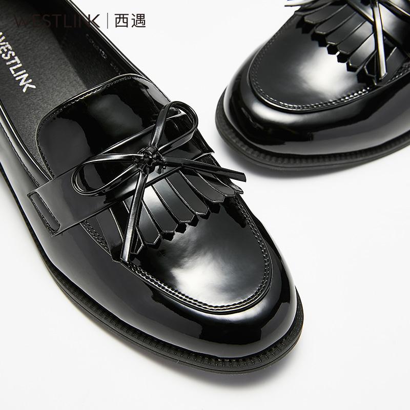 西遇乐福鞋女2018新款秋季女鞋复古英伦平底流苏小皮鞋一脚蹬单鞋