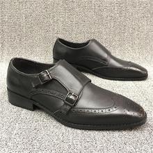 商场撤柜品牌男鞋方头真皮牛皮雕花搭扣商务正装结婚男皮鞋孟克鞋