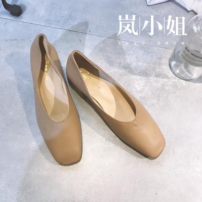 THE MSLAN新款奶奶鞋 复古文艺浅口方头真皮粗跟女鞋中跟舒适单鞋