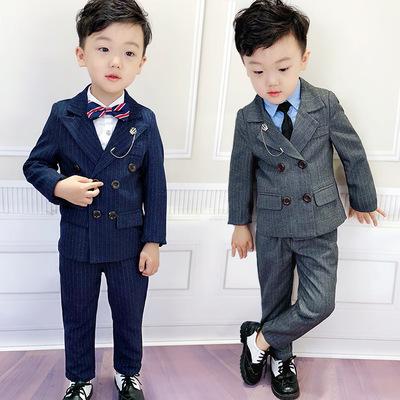 男童小童西装套装2018新款男宝宝西服双排扣男孩小孩礼服儿童秋潮