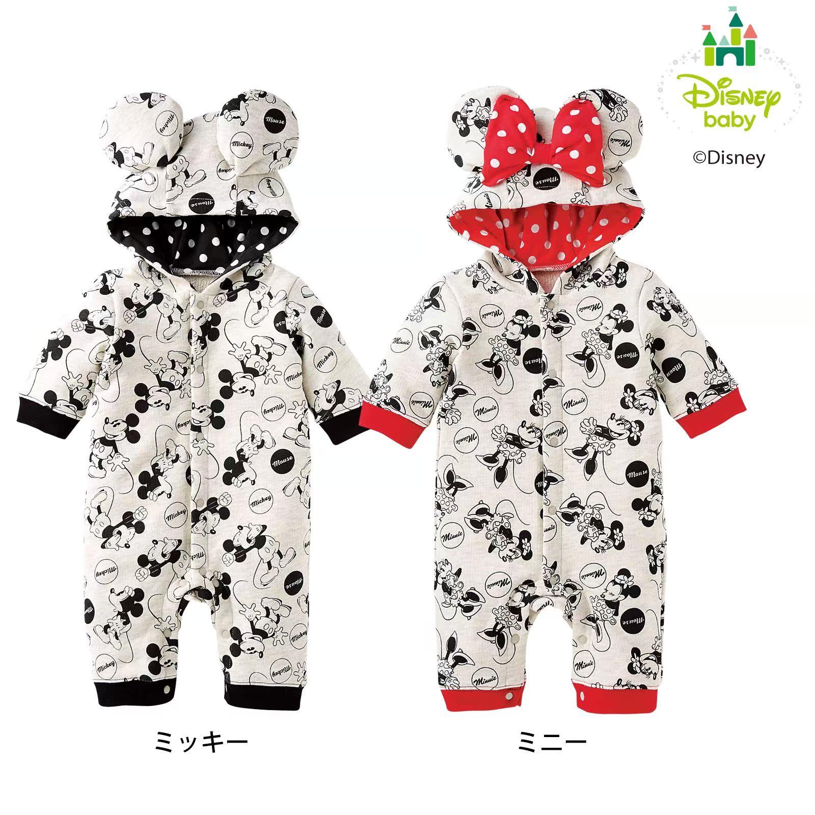 日本nissen童秋装小男女孩婴幼新生儿迪士印花尼连体衣哈衣爬服