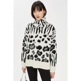 大米可英国代购 TOPSHOP 立领斑马纹针织毛衣