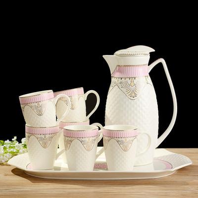饮具茶具欧式陶瓷水杯冷凉水壶家用水具套装耐热杯具配托盘客厅