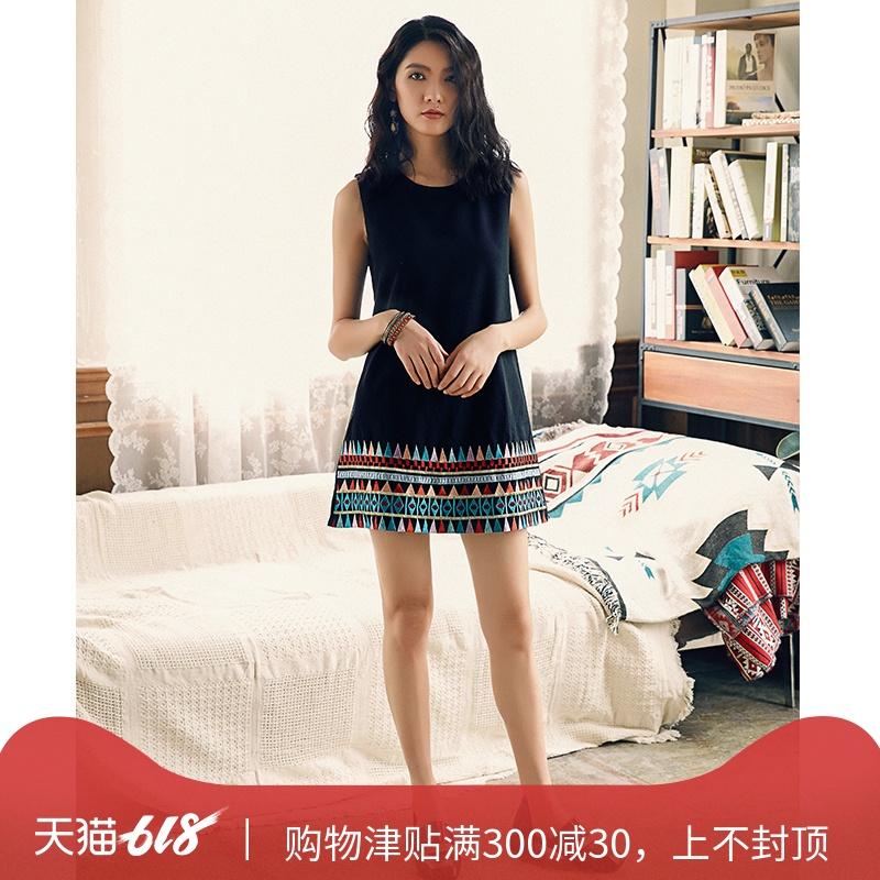 复古中国风雪纺连衣裙刺绣背心波西米亚民族风沙滩裙小个子女短裙